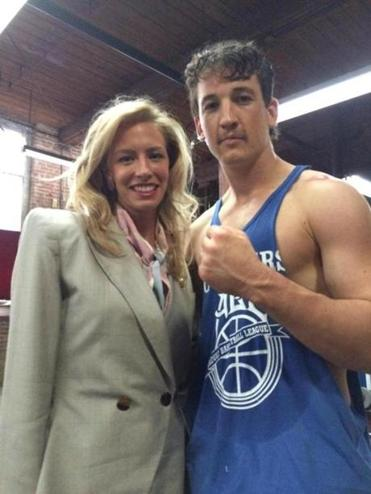 "Jenny Johnson and Miles Teller on the set of ""Bleed for This"" in Rhode Island."