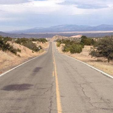 Heading from Albuquerque to Santa Fe on Highway 14, the Turquoise Trail.