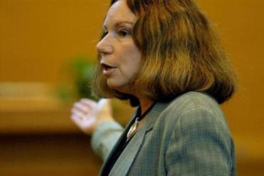 Defense attorney Laurie Shanks delivers her closing argument during the trial of Christopher Porco at the Orange County Courthouse in Goshen, N.Y., Wednesday, Aug. 9, 2006. Porco is on trial for killing his father Peter, an Albany County law clerk, and attacking his mother Joan, in their Delmar, N.Y., home in 2004. (AP Photo/Michael P. Farrell, Pool) -- 012515monsters
