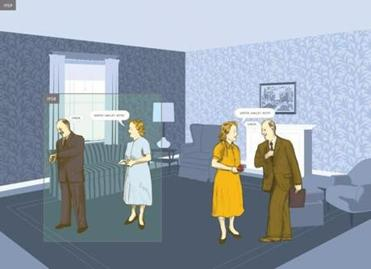 Artwork from inside the graphic novel, HERE, by Richard McGuire.
