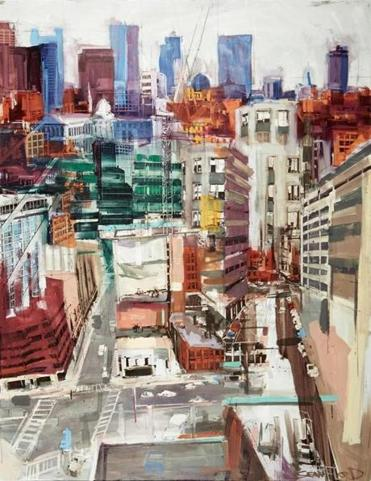 Childs Gallery - Sean Flood: Urban Outlook Sean Flood, American (b.1982) Hospital Windows, 2014 Oil on panel, 62 x 48 inches -- 31Galler