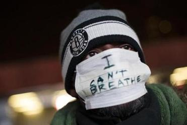 A protester attends a rally in New York.