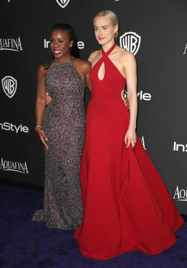 """Orange Is the New Black"" costars Uzo Aduba (left) and  Taylor Schillingarriving at a Golden Globes after-party on Sunday."