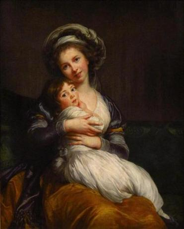 "Painter Louise Élisabeth Vigée Le Brun smiles in her ""Self-Portrait with Daughter,"" 1784."