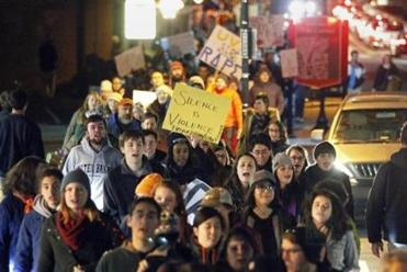 Protestors marched near the University of Virginia in November after a now-debunked story was published about a rape at a UVA fraternity.