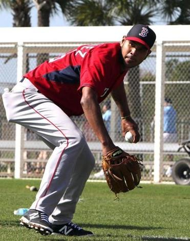 Fort Myers, FL - 02/23/15 - Boston Red Sox starting pitcher Eduardo Rodriguez during fielding drills. Red Sox Spring Training. (Barry Chin/Globe Staff), Section: Sports, Reporter: Peter Abraham, Topic: 24Red Sox, LOID: 8.0.2717390732.