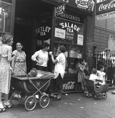 "Jules Aarons's ""Women and Children, West End, Boston (Salada Tea)."""