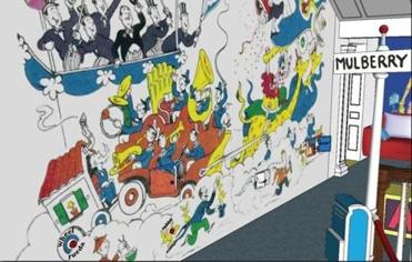 "A proposed design of a MulberryStreet mural that will exist in the new ""The Amazing World of Dr. Seuss"" in Springfield."