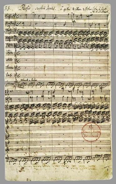 The first page of the St. John Passion by Johann Sebastian Bach.