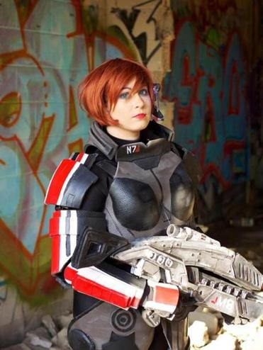 "Cori LeydenSussler dressed as Commander Shepard from the video game ""Mass Effect 3."""
