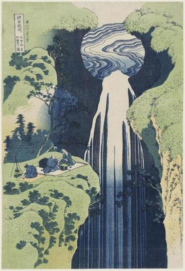 """The Amida Falls in the Far Reaches of the Kisokaido Road."""