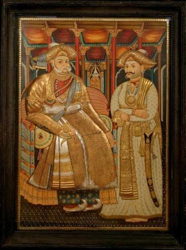 """Maharaja Serfoji II of Tanjavur and his son Shivaji II,"" an Indian painting from the mid-19th century in the Peabody Essex Museum collection."