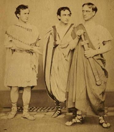 "From left: John Wilkes Booth, Edwin  Booth, and Junius Booth Jr. in ""Julius Caesar"" in New York City in 1864. As actors, both John and Edwin had been  popular with Boston audiences."