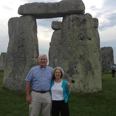 The author and her husband, John, at Stonehenge, a place they put on their list and kept there.