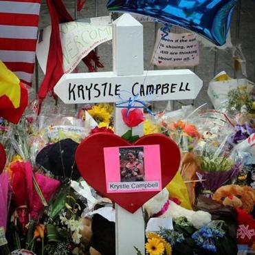 A memorial cross for Krystle Campbell on Boylston Street three blocks from the finish line.