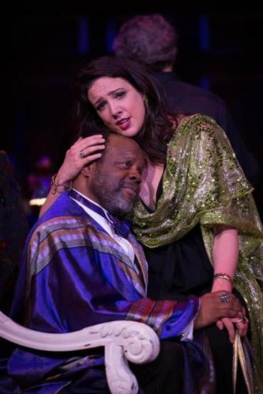 "Kevin Deas as Claudius and Susanna Phillips in the title role of Boston Baroque's  ""Agrippina."""