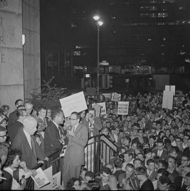 Harry Belafonte (left) after a rally calling for nuclear disarmament.