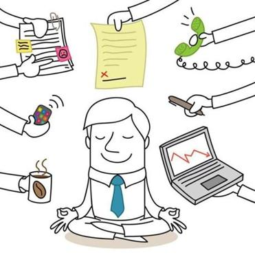 Illustration of a monochrome cartoon character: Calm businessman doing yoga while paperwork chaos is surrounding him.; Shutterstock ID 177781112; PO: living