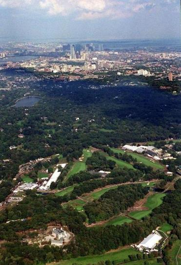 The Country Club in Brookline (below) with Boston in background during Ryder Cup play in 1999.