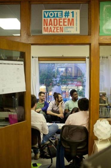 Nadeem Mazen held a weekly civics meeting for city interests and concerns in his Nimblebot offices last month.