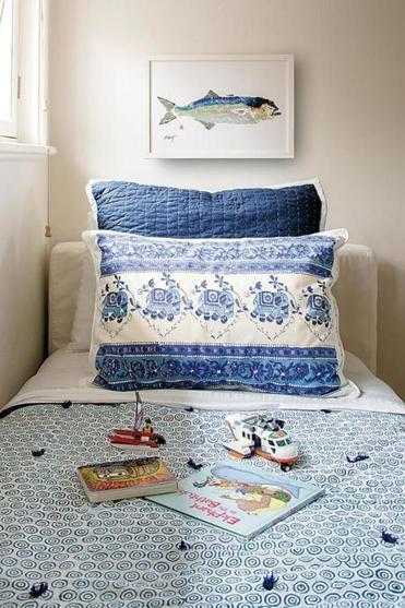 Sayeed designed this hand-blocked bedding, which was printed in India and sewn at a Boston workroom.