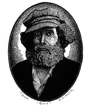 A woodcut illustration of Burt Shavitz by Tony Kulik of Belfast, Maine.