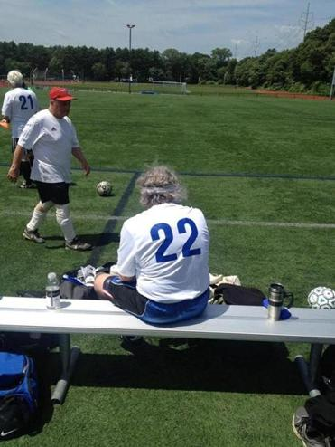 "Moniz plays mostly defense in a local ""over-the-hill'' soccer league."