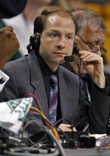 Celtics radio play-by-play man Sean Grande courtside at the TD Garden in 2009.