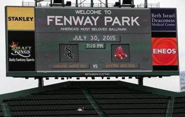 A DraftKings advertisement was featured on the Fenway Park scoreboard in late July.