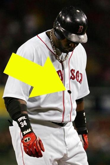 "Unhealthy as it looks: David Ortiz spat out his ""chew"" after flying out against Tampa Bay in game three of the 2008 ALCS at Fenway."