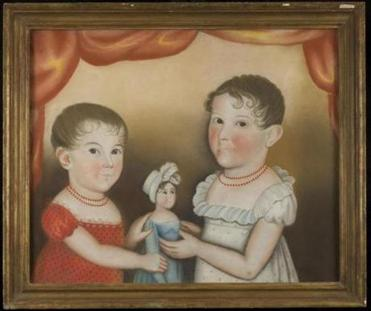14collected Worcester Art Museum's Folk Art exhibition. American Folk Art, Lovingly Collected. 4. Attributed to Deacon Robert Peckham (American, 1785–1877), Two Children with Doll, about 1830, Pastel on paper, Probably Worcester County, Massachusetts. Private Collection