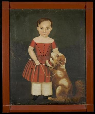 An unknown artist portrayed a serious-looking Edward Hibbard at about age 4 with his dog.