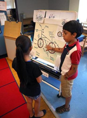 Waseem Elhammani explained bike parts to a fellow student at East Boston Early Education Center.