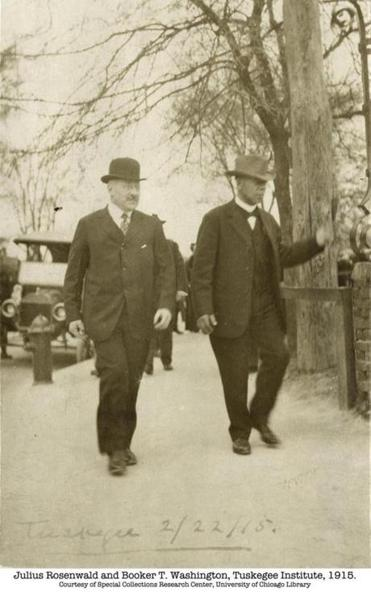 Julius Rosenwald (left) and Booker T. Washington at Tuskegee Institute