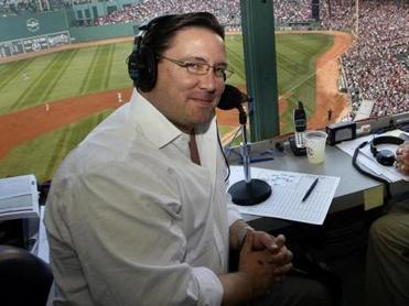 Dave O'Brien, shown in the Fenway Park broadcast booth, has called Red Sox games on the radio since 2007.