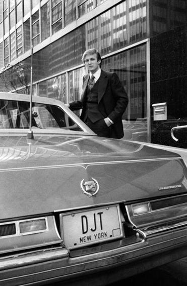 Trump posed with his Cadillac in New York in 1976.