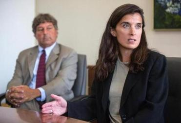 David Meier (left) and Melinda Thompson, attorneys for Aisling Brady McCarthy, discussed the case Monday during a news conference at the Boston law firm Todd & Weld LLP.