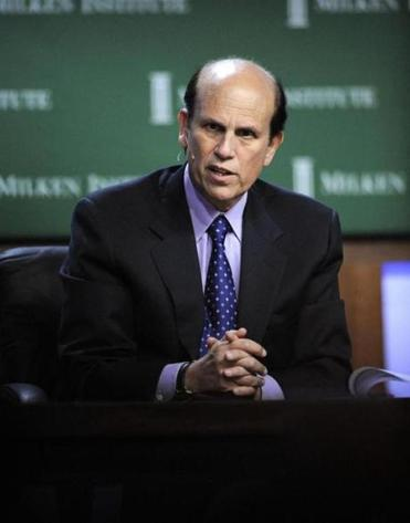 Michael Milken, moderating a panel at the Milken Institute Global Conference.