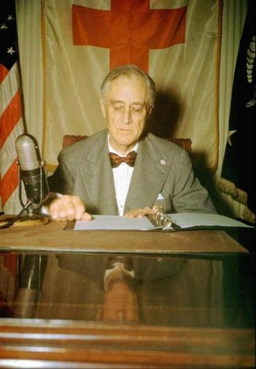 President Franklin Delano Roosevelt during a radio broadcast from the White House in June of 1944.