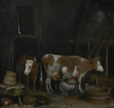 """A Maid Milking a Cow in a Barn"""