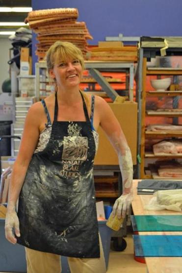Ceramics and tile artist Natalie Blake at work at the Fulcrum Arts Center and Gallery in Brattleboro.