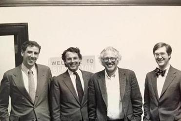 City Attorney Joe McNeil, Alderman Frederick Bailey, Mayor Bernie Sanders and City Administrative Officer Jonathan Leopold in 1987.