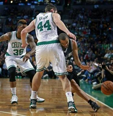 Tyler Zeller, who only played six minutes Sunday, forced Tony Parker to lose the ball in the first quarter.