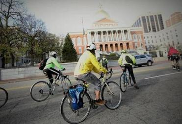Fifty bikers rode a mile across the city to the Massachusetts State House on Sunday to rally for actions to reduce road crashes and to honor the victims of them.