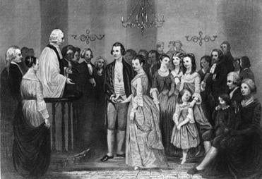 January 1759: The wedding of George Washington and Martha Dandridge Custis at St Peter's Church, New Kent County, Va. The Reverend John Mossum performed the ceremony.