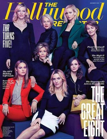 The cover of a recent Hollywood Reporter issue features eight white actresses.