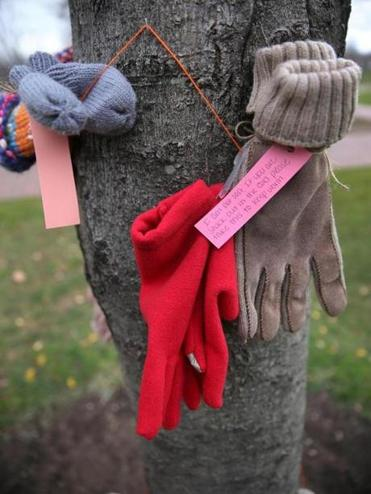 An anonymous person this week hung winter garments on six trees on Boston Common.