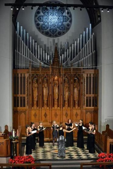 Lorelei Ensemble (pictured in 2015) presented a program of new music centered on themes of injustice, immigration, and visions of a better world at Marsh Chapel Saturday.