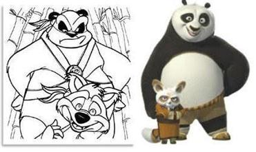 The indictment alleged that beyond superficial similarities, the panda characters Jayme Gordon created (left) had little in common with the DreamWorks' movie.