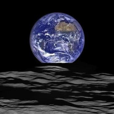 The earth rises over the moon in an image recently captured by NASA's Lunar Reconnaissance Orbiter.